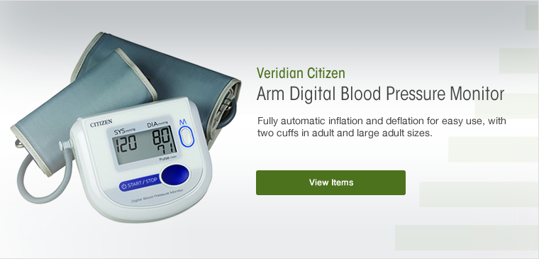 View the Veridian citizen arm digital blood pressure monitor with adult and large adult cuffs