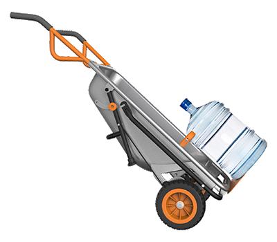 Worx Aerocart transporting a 5 gallon water jug