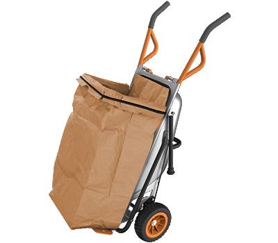 Worx Aerocart holding open a large leaf bag