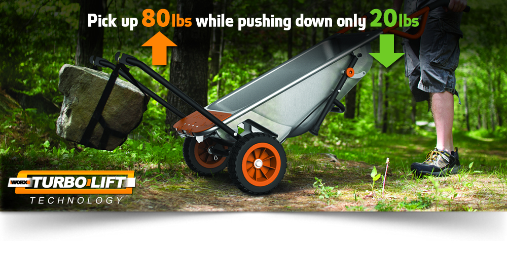 Worx Aerocart ligting up a large 80lb rock while only having to push down 20lbs on handles