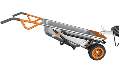 Worx Aerocart with trailer hitch ball moving a trailer