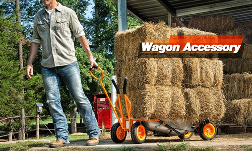 Hauling some hay bales with the Worx Aerocart Wagon Accessory