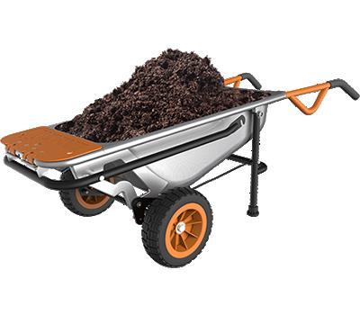 Worx Aerocart Wheelbarrow feature holdign some dirt