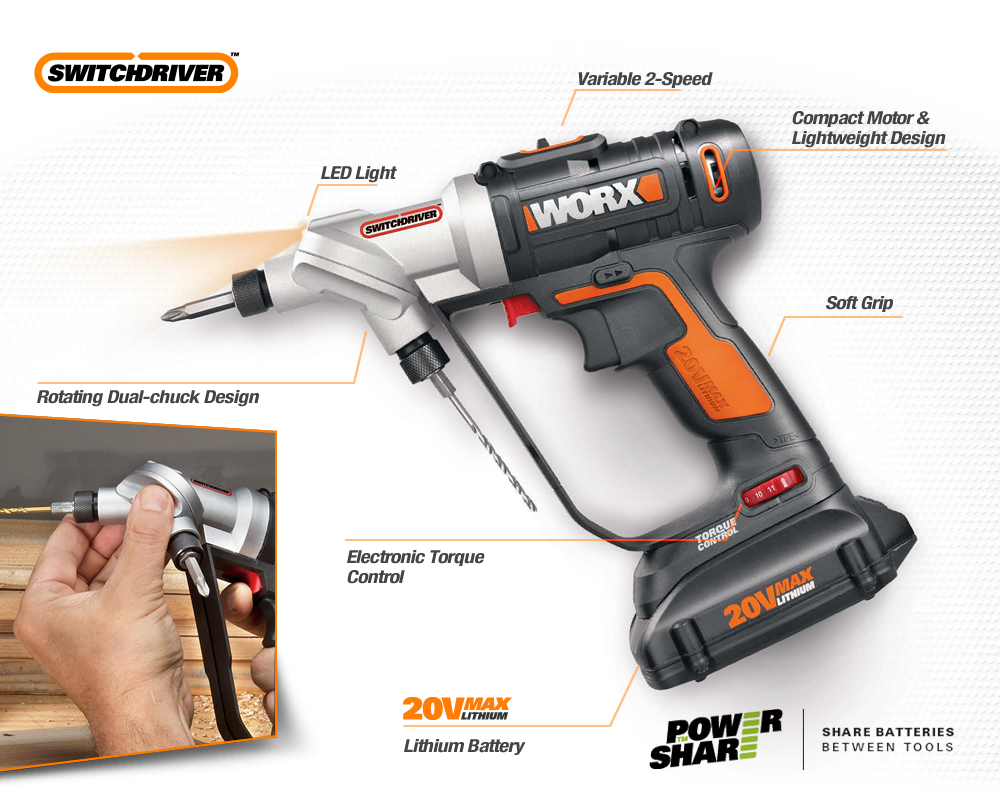 A close up of the Worx Switchdriver with all the features pointed out