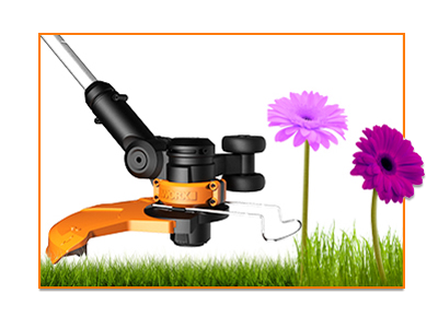 The Worx GT built in flower guard protecting beautiful flowers