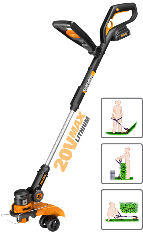 The 20v Worx GT 2.0 with infographics on the handles multiple adjustments