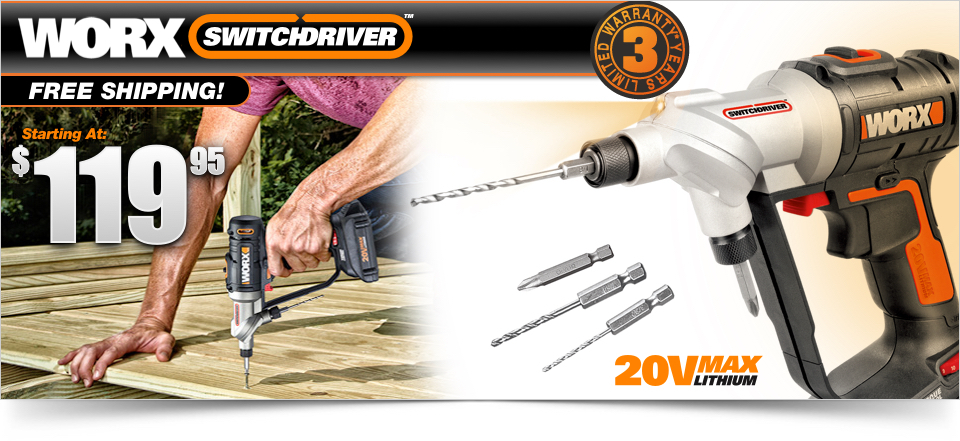 Worx Switchdriver Hero Image with Current Offer Price
