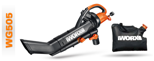 A shot of the Worx Trivac WG505 model and the leaf bag
