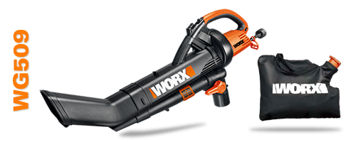 A shot of the Worx Trivac WG509 model and the leaf bag