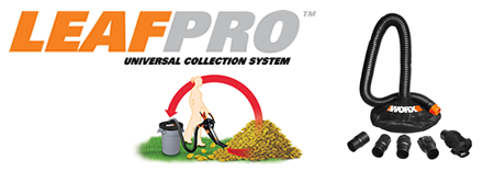 The Leafpro Collection System and Trivac suckign up laves into a 55 gallon trash can