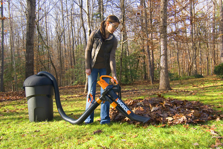 A nice in use shot of a women using the Worx Trivac with the LeafPro Collection System