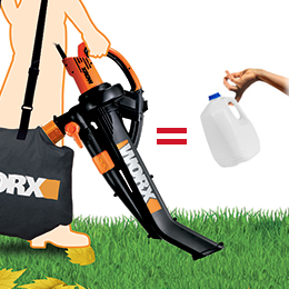 The Worx Trivac is lightweight and compared to holdign a gallon of milk